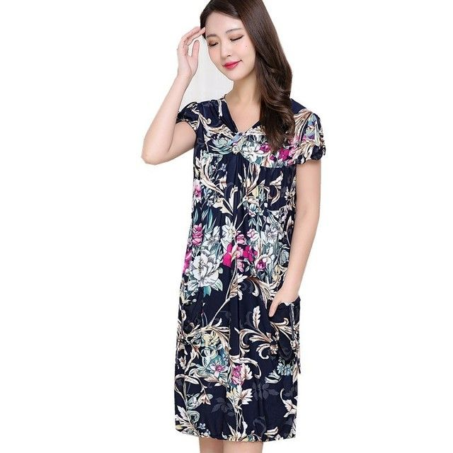 Women Dresses 2019 New Arrival Elderly Women's Clothes Dress Middle-aged Mother Large Size Short Sleeved Retro Floral Printing