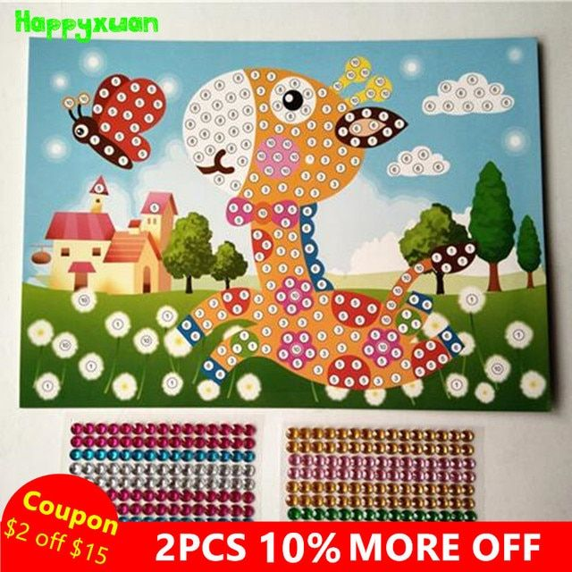 Happyxuan 5pcs/lot 19*26.5cm DIY Crystal Sticky Mosaic Art Sticker Crafts Early Learning & Education Toys  for Kids