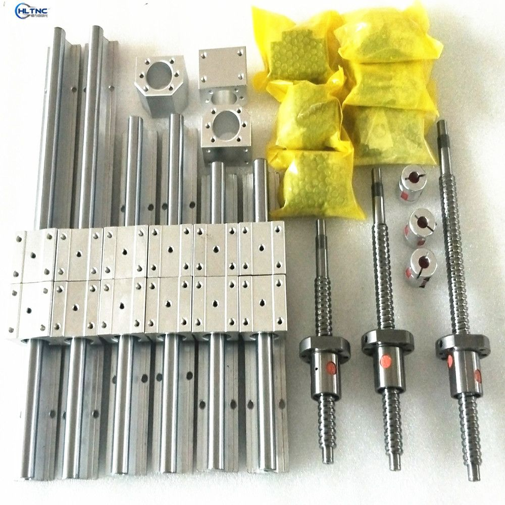 SBR16 SBR20 linear rail  set + 3 ballscrew SFU1605+BK/BF12 + nut housing + couplers+SBR blocks for CNC router/Milling Machine