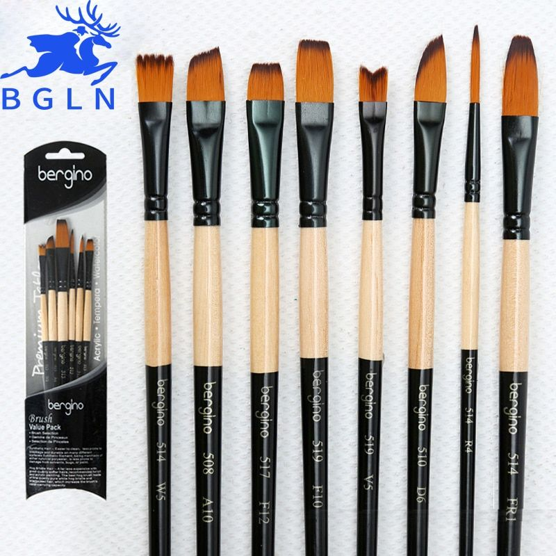 5Pcs Water Color Paint Brush Set Painting Brush Nylon Hair Brush Oil Painting Brush Pen Set For School Stationery Art Supplies