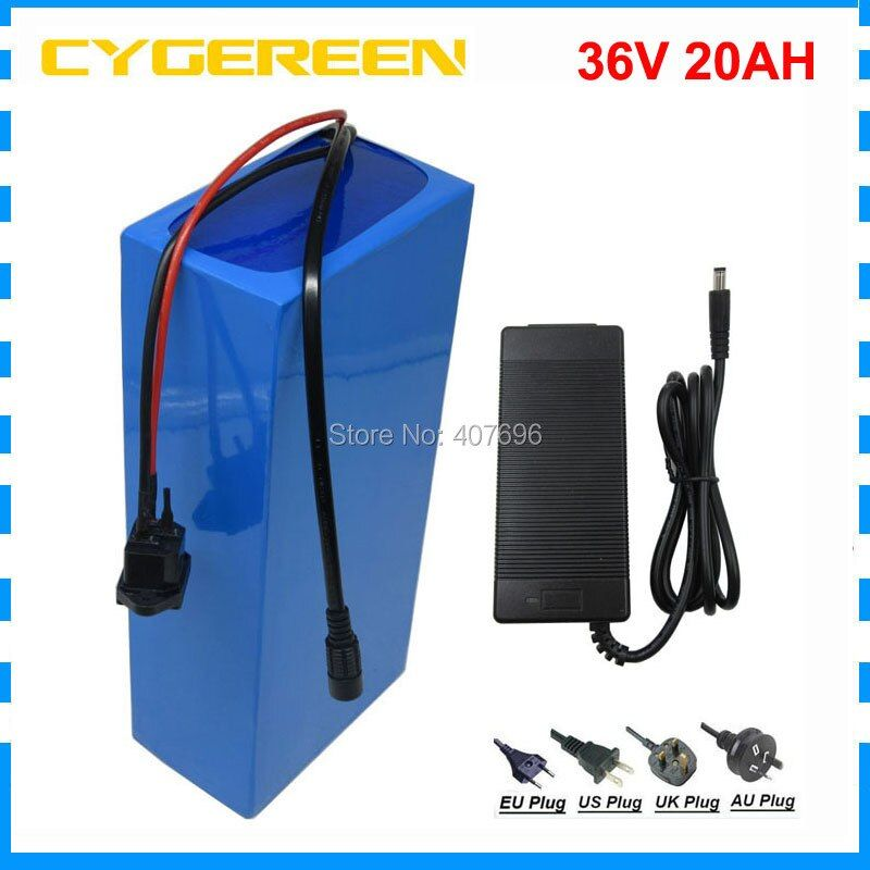 Free customs fee 36V 20AH Ebike battery 1000W 36V 20.8ah lithium ion battery pack use 2600mah 18650 cell 30A BMS 42V 2A Charger