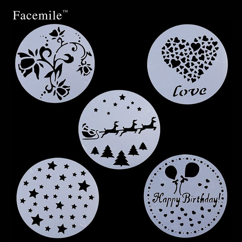 Flower Plantilla Stencil Bakeware 5PCS Baking Fondant Gift Decorating Tools for Cupcake Template Mold Spiral Decoration 03108
