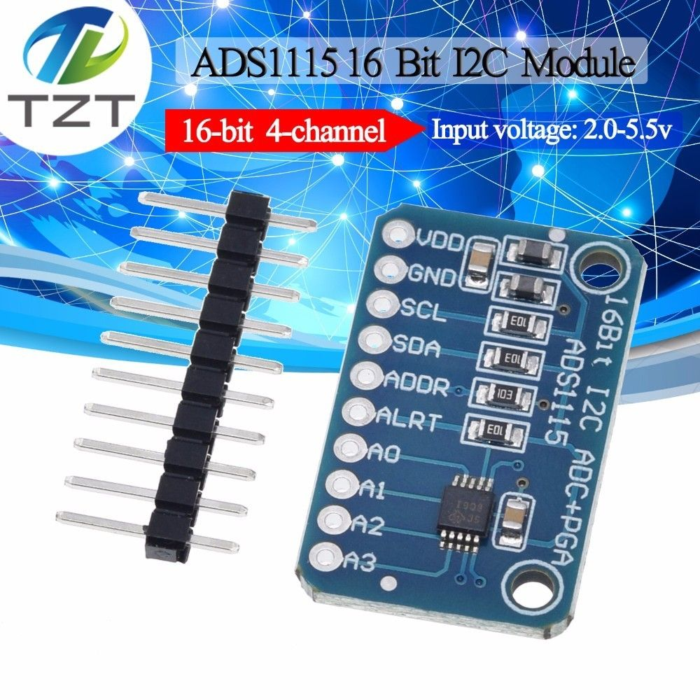 TZT 16 Bit I2C ADS1115 Module ADC 4 channel with Pro Gain Amplifier for Arduino RPi