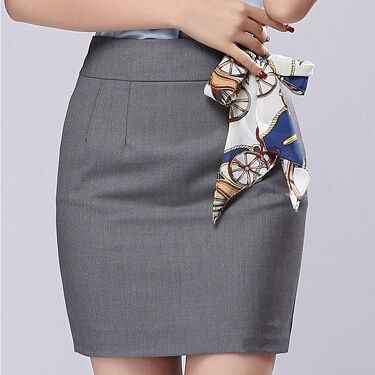 Office Skirt With Free Scarf 2017 Summer Women's New Born Plus size S-3XL Formal Saias Work Mini Short Gray Black Pencil Skirts