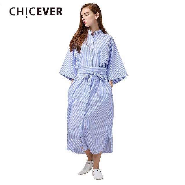 CHICEVER 2017 Cloak Sleeves Striped Long Summer Shirt Dress Women Kimono with Belt Lace Up High Waist Dresses Female Clothes
