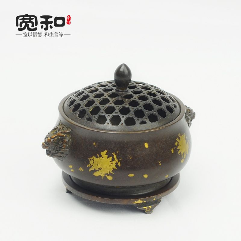 Pure copper censer Dragon ears brass plated copper incense coil furnace xuande incense incense fragrance incense road furnace