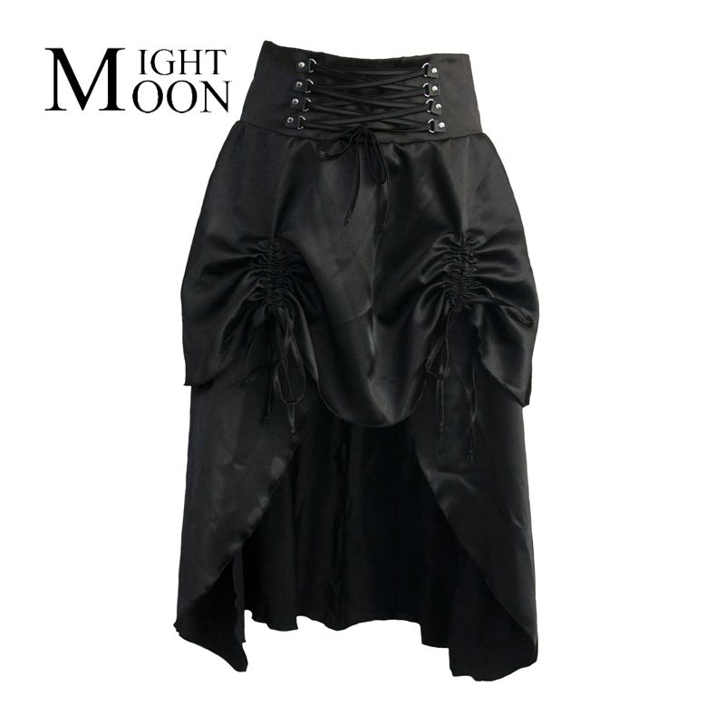 MOONIGHT Clubwear Sexy Punk Rock Clothing Black Low Waist 2 Layers Ruffles Long Skirts Women Vintage Gothic Steampunk Skirt
