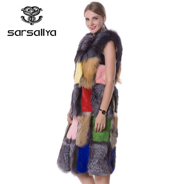 SARSALLYA real fur long vest mink fur vest silver fox fur vest rabbit fur vest A variety of color