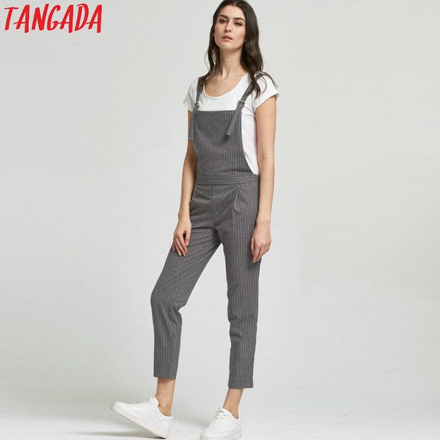 Tangada Fashion Women Gray Striped Print Strap Jumpsuits Side Zipper Sleeveless Pocket Casual Brand Female Fit Rompers HY77