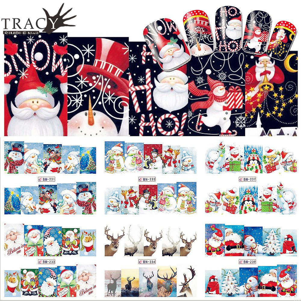 1pcs 2017 Winter Snowman Elk Nail Art Water Transfer Sticker Full Cover Colorful Christmas Wrap Manicure Nail Beauty TRBN229-240
