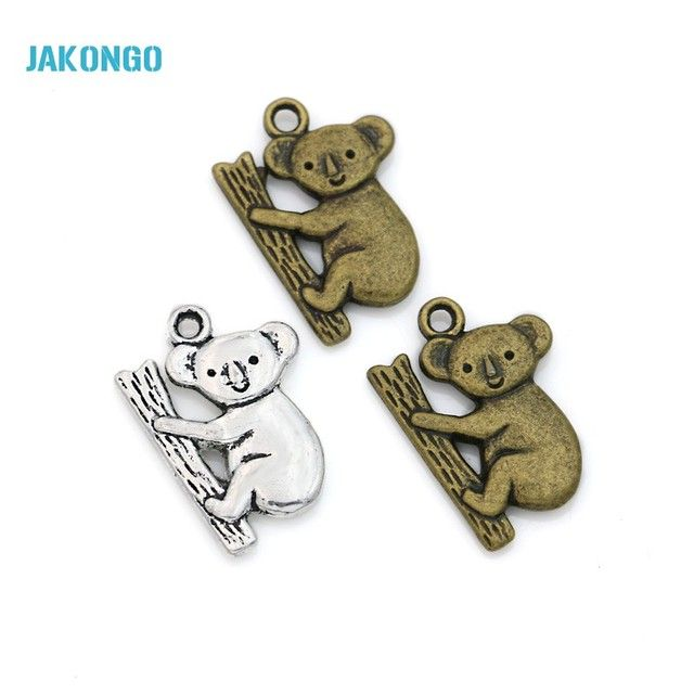 Tibetan Silver Plated Koala Charms Pendants for Bracelet Necklace Jewelry Making DIY Handmade Craft 20x14mm