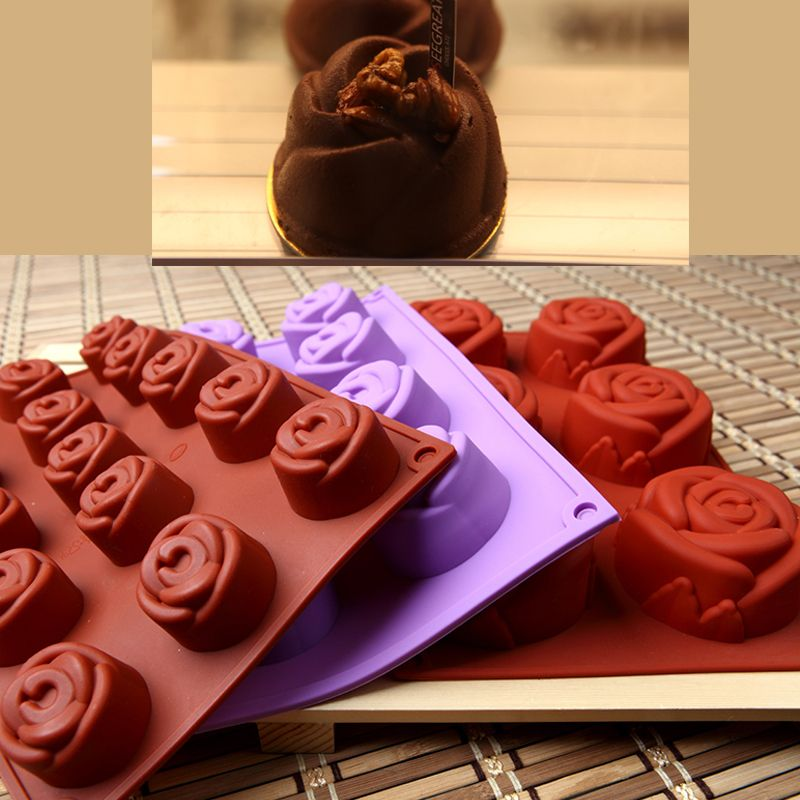 6 8 15 Caves Rose Shape Cake Mould Molds Silicone Mold Soap Decoration Fondant 3D Food Grade hocolate Moulding Tools Ice Tray
