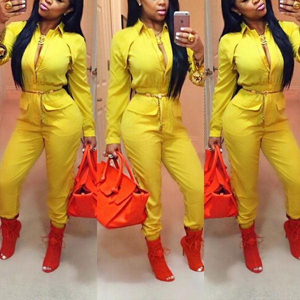 Sexy womem one piece jumpsuit 4 colors front open long sleeve yellow jumpsuit elegant women rompers plus size