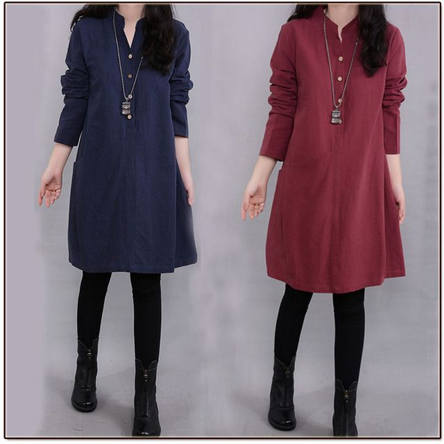 Free shipping Woman cotton linen vestidos 3 color plus size loose autumn Spring Casual  solid Mandarin collar Knee-Length dress
