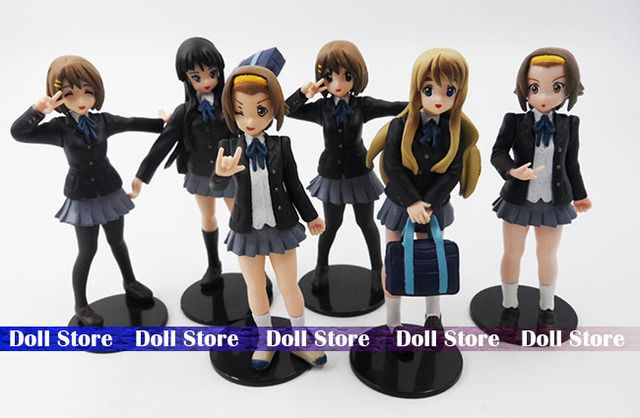 6pcs/lot Japanese anime figure 10cm k-on!action figure best Christmas kids toys Akiyamn Mio Yui Hirasawa school uniform Cartoon