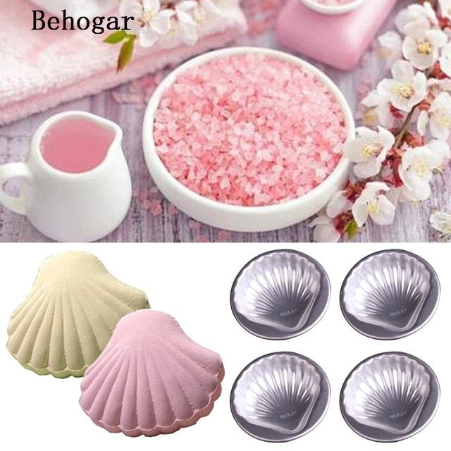 Behogar 4Pcs/Set DIY Homemade Bathing Bath Bomb Molds Balls Sea Shell Aluminum Alloy Cake Pan Baking Mold Pastry Tool Accessory
