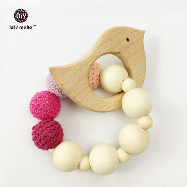 Let's make Teething ring crochet Natural wood teether Wooden teether toy pink with bird Baby toys Baby Stroller Accessories