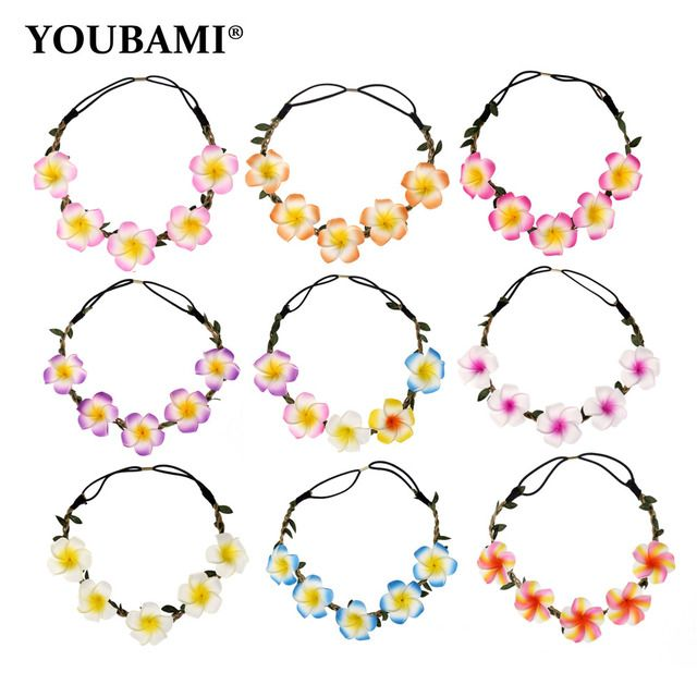 Bride Bohemian Foam Plumeria Flower Headband Festival Wedding Floral Garland Hair Band Headwear Hair Accessories for Women