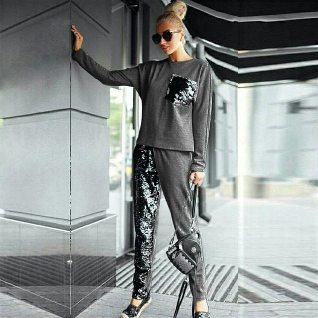 New arrival 2016 Fashion Women clothing Cool Skull suit Tracksuit women casual O-neck size S M L Jacket + Pants Free shipping