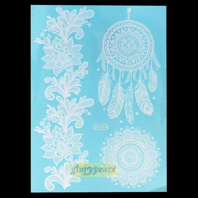 1PC Hot Flash Metallic Waterproof Tattoo Women White Ink Henna Lace Strap WJ013A Body Mixture Designs Temporary Tattoos Stickers