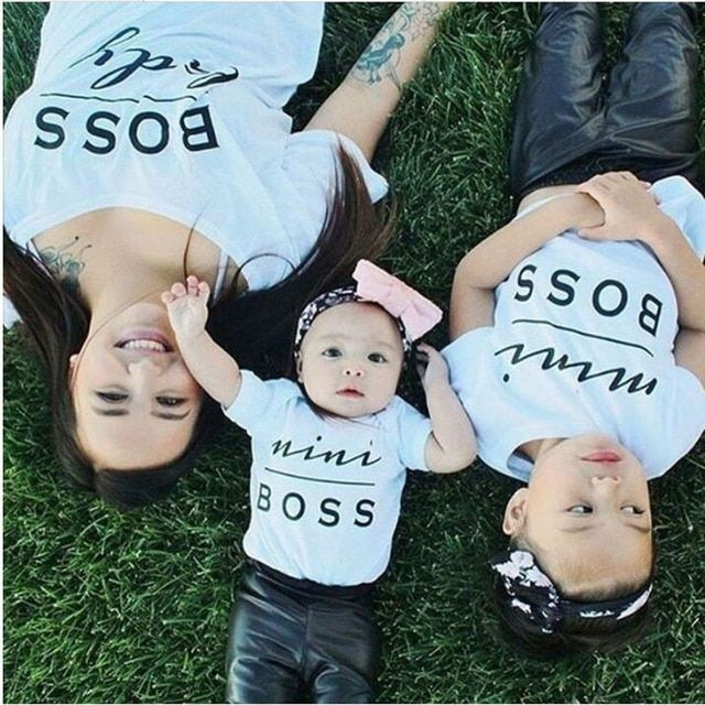 Mother Daughter Clothes Family Matching Clothes Summer Short Sleeve T-shirt Cotton MiniBoss Family Look Clothing