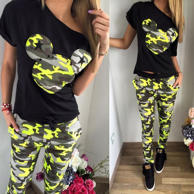 Cartoon Mickey Print Tracksuits Women Short Sleeve Tops Full Pants Women Track Suit Two Pieces Set Crop Top Sweatpant Femme A029