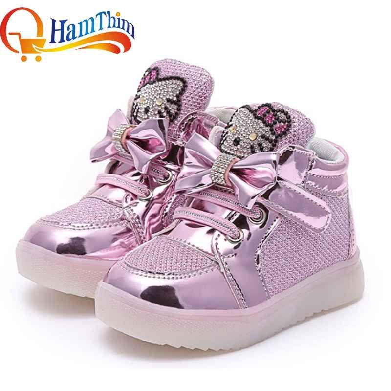 New Boys Girls  PU Leather LED Light Up Children Shoes Luminous Fashion Kids Flats Heels Breathable Sneakers Casual Shoe 21-30
