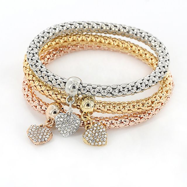 3pcs/set Gold Color Crystal Charm Bracelets & Bangles Men Women Ethnic Multi-layer Square Heart Pendants Cuff Bracelet Jewelry