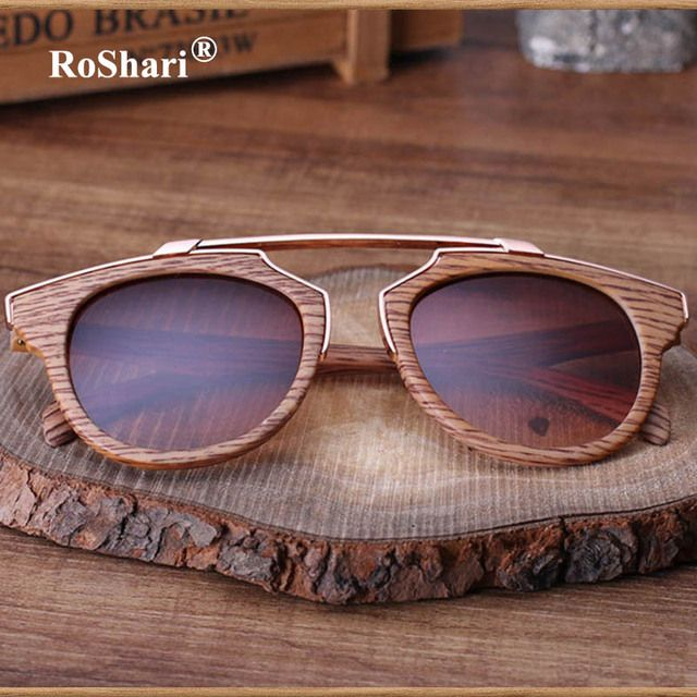 Classic cat eye sunglasses Women men Brand Designer Vintage Brown Lady wood sun glasses men UV400 oculos de sol feminino T44