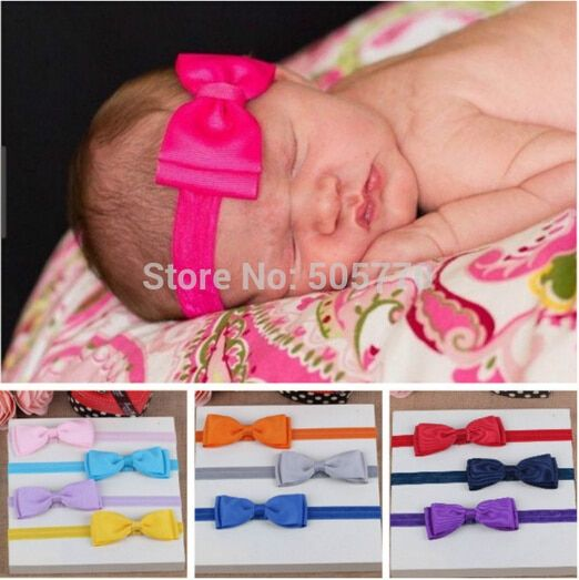 fashion spring hot pink kids infant child girls head wraps tiara silk elastic ribbon headband satin big bows headwrap hair bands