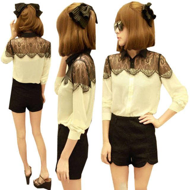 Summer style Chiffon Blouse Lapel Long Sleeve Europe Style Lace Stitch Shirt Ladies Elegant women shirts E2684
