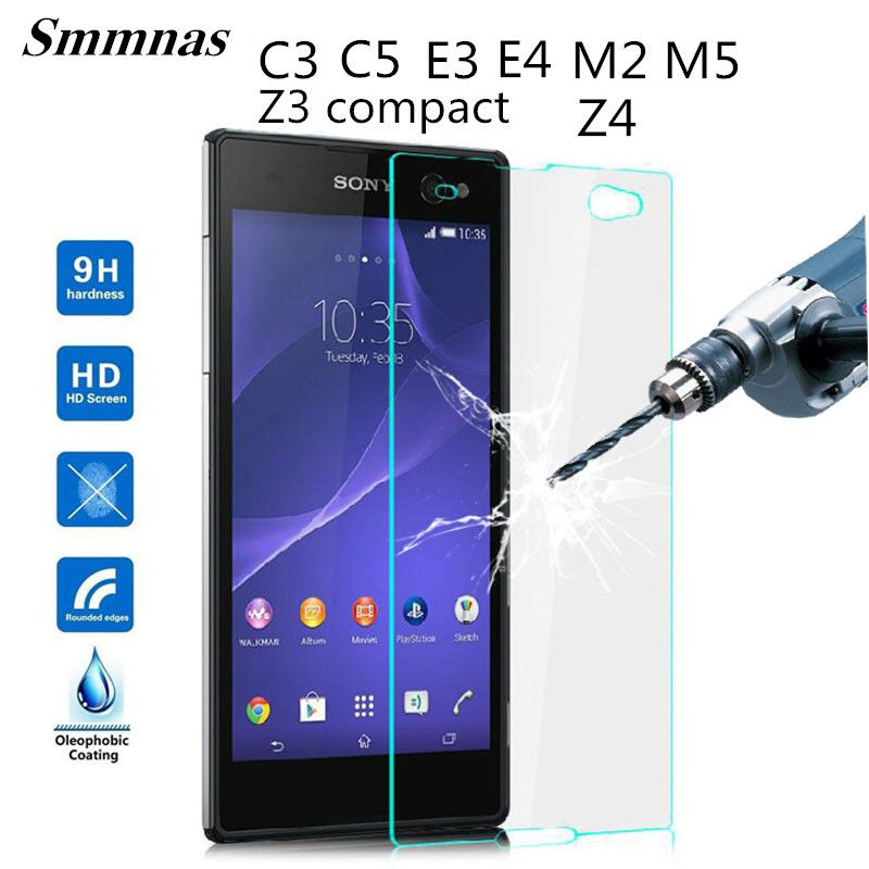 Top Quality 0.3mm 9H Tempered Glass film For Sony Xperia C3  C5  E3 E4 M2 M4 M5 Z3 compact mini Z3 Z4 Screen Protector Film