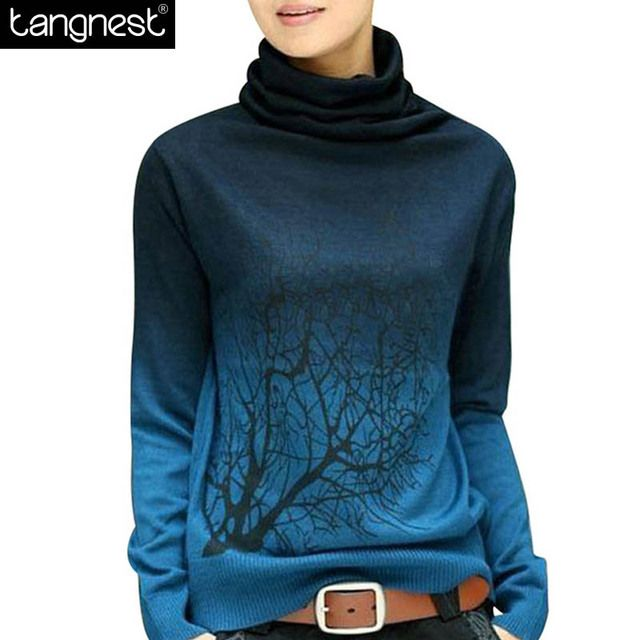 TANGNEST Soft Women PULLOVERS 2017 Turtleneck Pullover Print Gradient Plus Size Sweatshirt Casual Knitted Tops WZL615