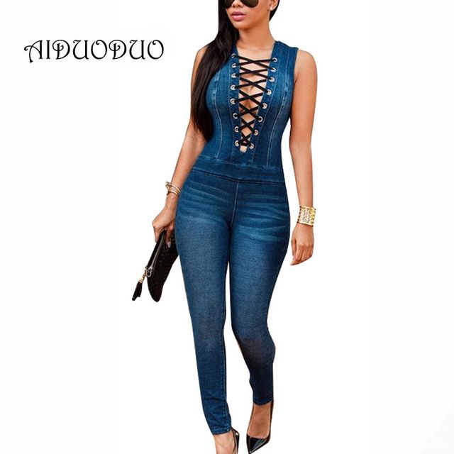 2016 Sleeveless Dark Denim Overalls Women Long Pants Sexy Deep V Neck Rompers Womens Jumpsuit Party Night Club Wear Bodysuit