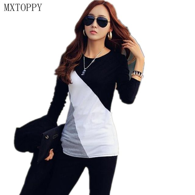 2017 Women T-shirt Long Sleeve Clothes Ropa Tee Shirt Femme Poleras Camisetas Mujer Black/Brown Ladies Casual T Shirt