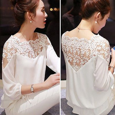 2016 New Sexy Fashion Women Hollow Out Lace Chiffon Blouse Casual Ladies Elegant Lace Shirt