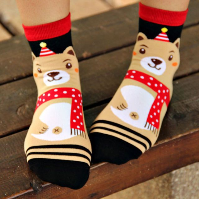 1 Pair  Hot Sale 2016 New Women Winter Warm Christmas Warm Soft Cotton Blend Santa Claus Deer Socks Xmas Christmas socks