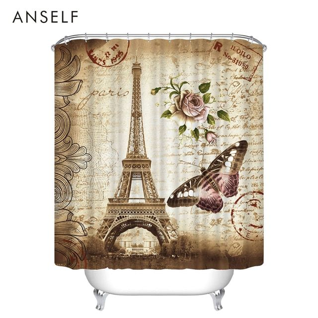 Shower Curtains Waterproof Polyester Fabric Shower Curtain 3D Red Lip/Red Maple/Butterfly Eiffel Tower Shower Curtain Cortinas