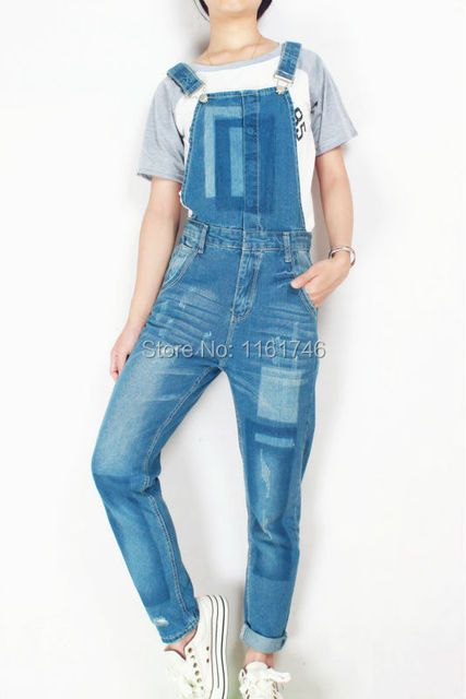 2017 Women Ripped Hole Denim Jumpsuits Romper Overalls JEANS Ladies Sexy Slim Casual Romper Plus Siz 42 Denim Overalls 4 season