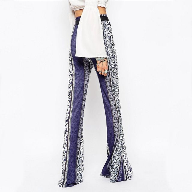 Retro Flower Print Womens Pants 2017 Summer Casual Ethnic Long Pants Bohemian Elastic Mid Waist Trousers Cheap Women Clothing