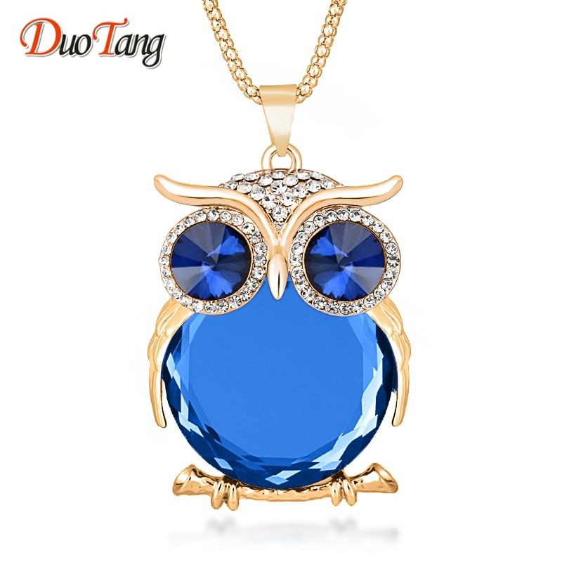 8 Colors Trendy Owl Necklace Fashion Rhinestone Crystal Jewelry Women Necklace Silver Color Chain Long Necklaces & Pendants