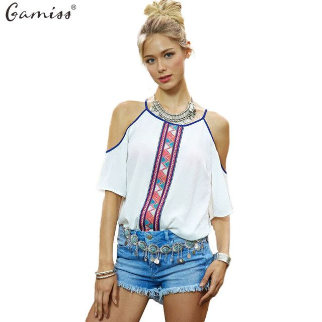 Gamiss Fashion Women Chiffon Blouses White Printed Short Sleeve Shirts Ladies Strapless Off Shoulder Boho Tops Plus Size Blusa