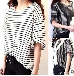 MLXSLKY Summer style bat sleeve  black and white stripe  women  t shirt short sleeve loose  tops fashion  chiffon t shirt
