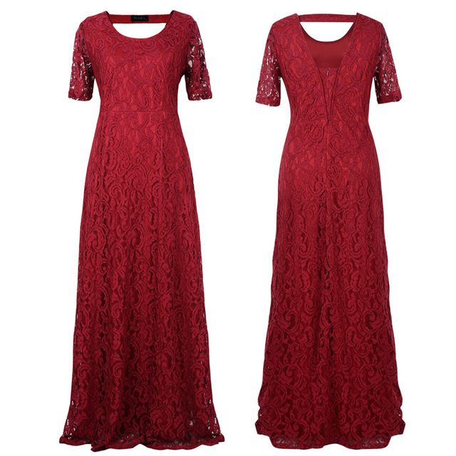 2017 big size women flower lace long dress plus size floor-length elegant women hollow lace dresses party black white claret