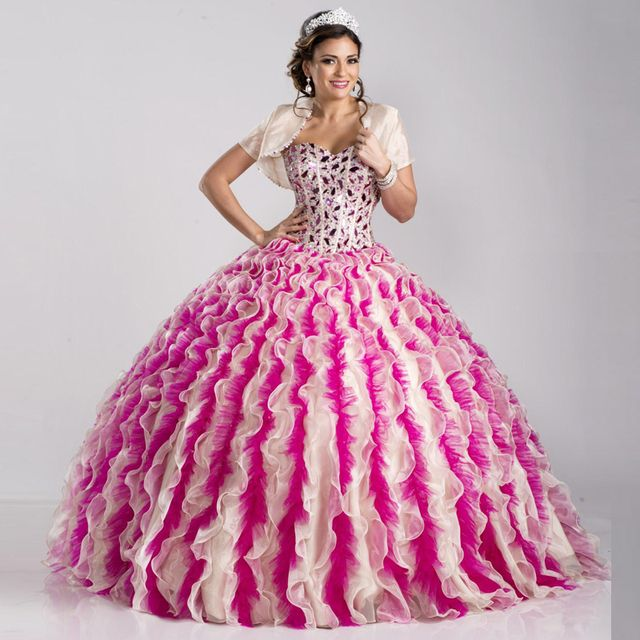 2016 Crystals Beaded Quinceanera Dresses Colorful Ruffles Ball Gowns Layered Two Tones Organza Sweet 15 Dress 221