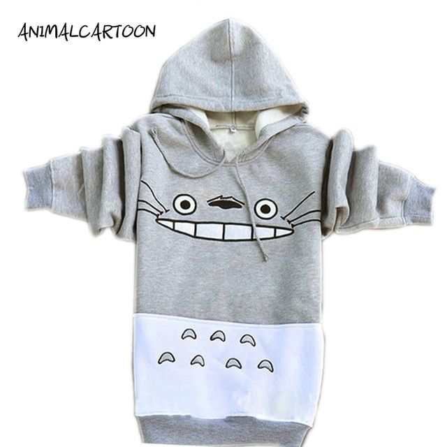 2018 Hot Spring and Autumn Totoro Sweatshirts Women Hoodies Suit Cartoon Print Patchwork Pullover  with Pockets Gray