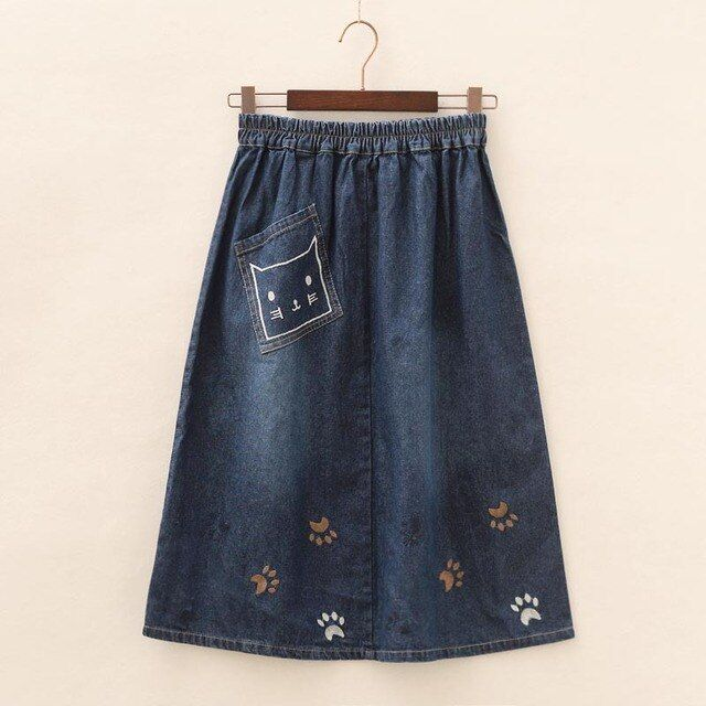 The new Japanese embroidery cowboy skirt selling all-match washed denim Maxi skirts summer female