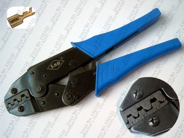 Ratchet hand crimping tools for non-insulated open plug type connector LSD LS-03B