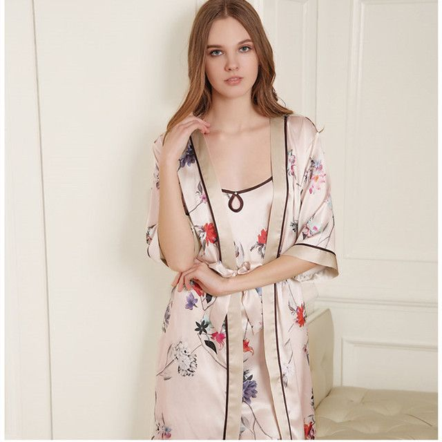 Pure Silk Sleepwear Twinset Women Sexy Nightgown 100% Mulberry Silk Flower Print Robe Sets M/L/XL Free Shipping