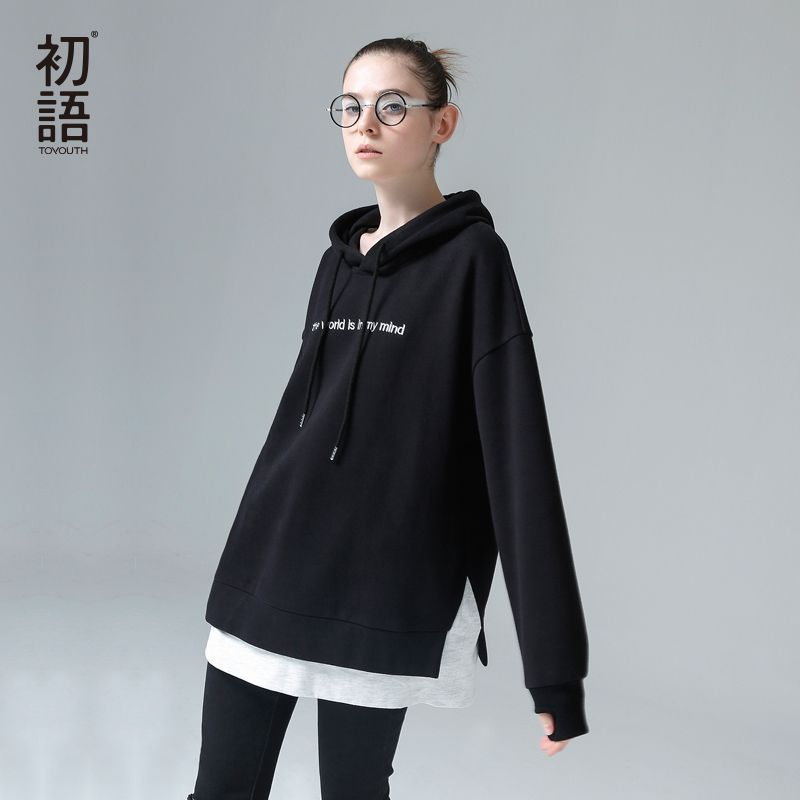 Toyouth Harajuku Hoodies Sweatshirts Women 2019 Fashion Patchwork Letters Embroidery Hooded Tracksuits Female Korean Pullovers